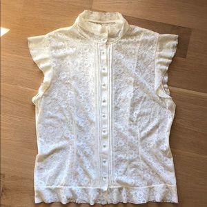 Banana Republic sleeveless, lace button down top